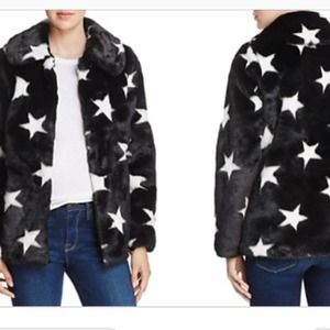 Aqua Faux Fur Coat Black with White Stars Size XS